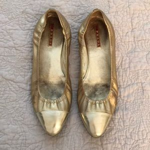 Prada Gold Ballet Slippers